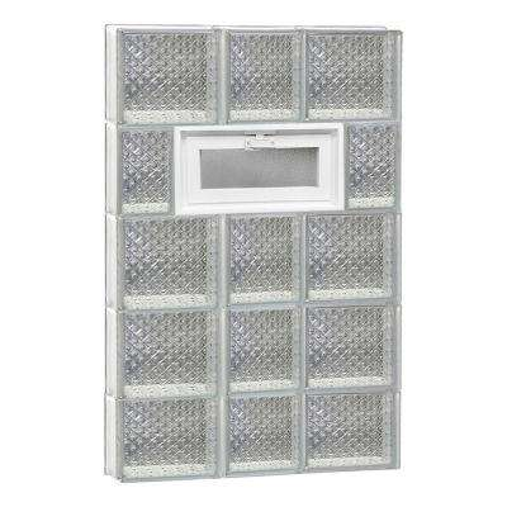 21.25 in. x 36.75 in. x 3.125 in. Frameless Diamond Pattern Vented Glass Block Window