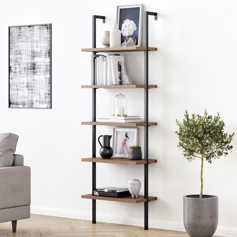 Theo 73 in. Matte Black Reclaimed Oak Wood 5-Shelf Ladder Bookcase with Black Metal Frame