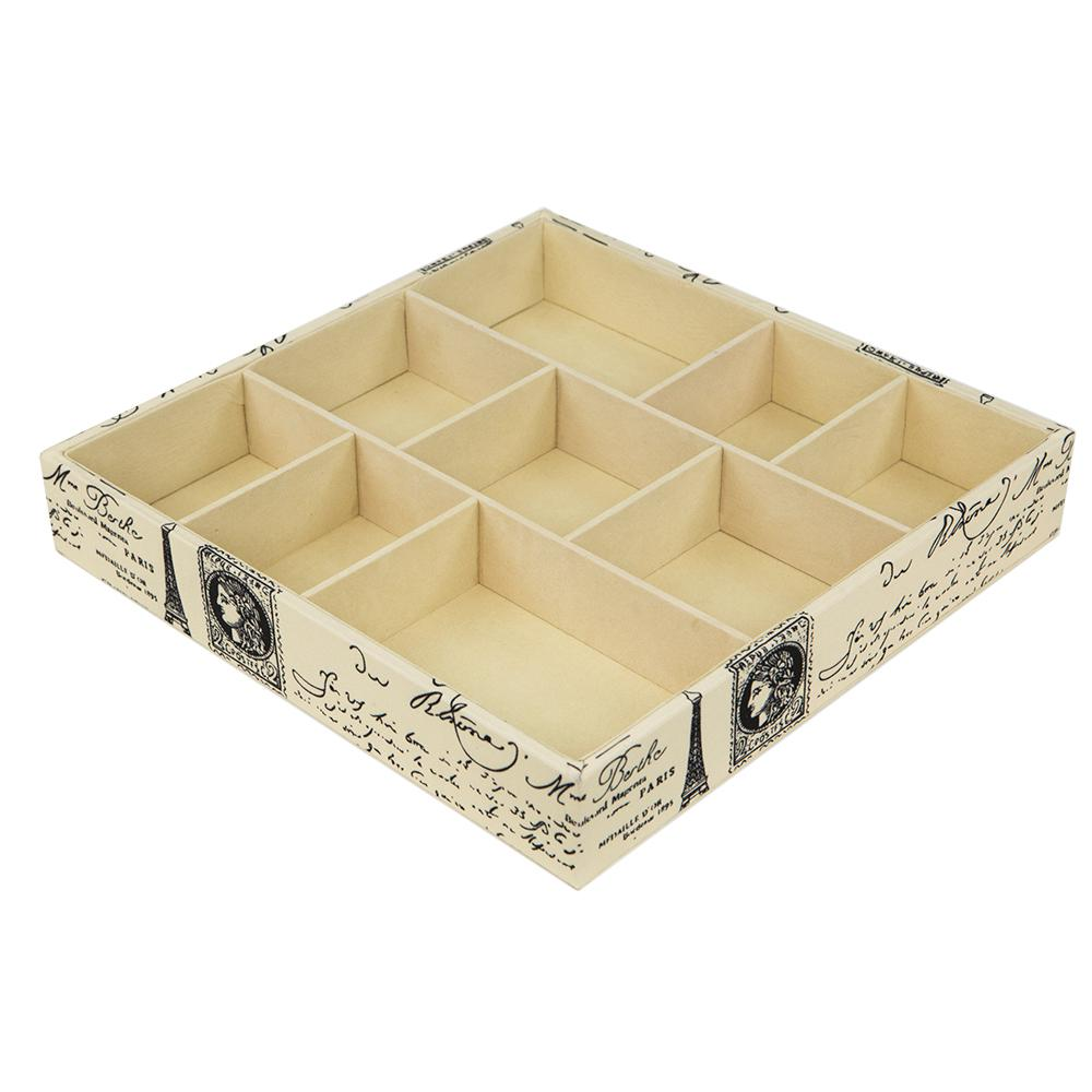 Home Basics Printed Canvas Jewlry Organizer Store and organize your jewelry and other essentials in this open jewelry organizer. Measures 12 in. x 12 in. x 2 in. Made of printed canvas with a vintage Parisian design. Features 9 compartments to organize make-up jewelry, keys and many more home items.
