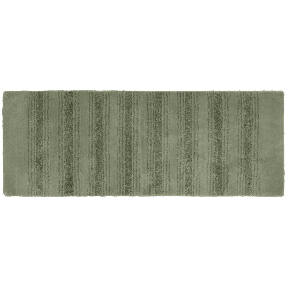 Essence Deep Fern 22 in. x 60 in. Washable Bathroom Accent Rug