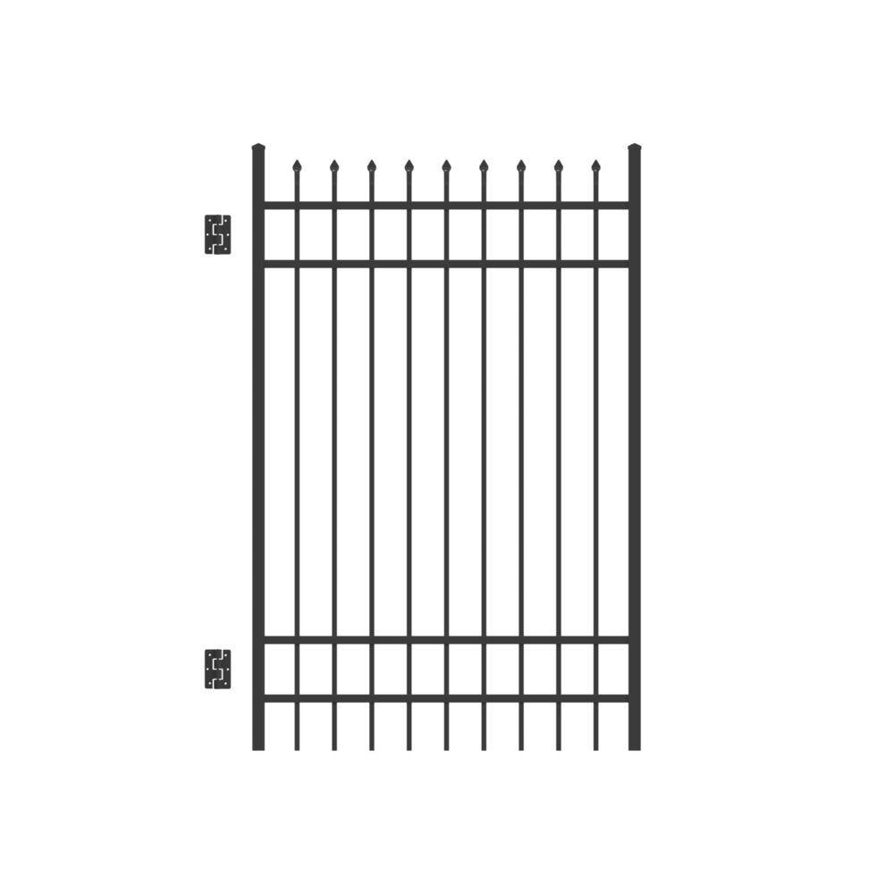 Cascade 4 ft. W x 6 ft. H Black Standard-Duty Aluminum Straight Pre-Assembled Fence Gate