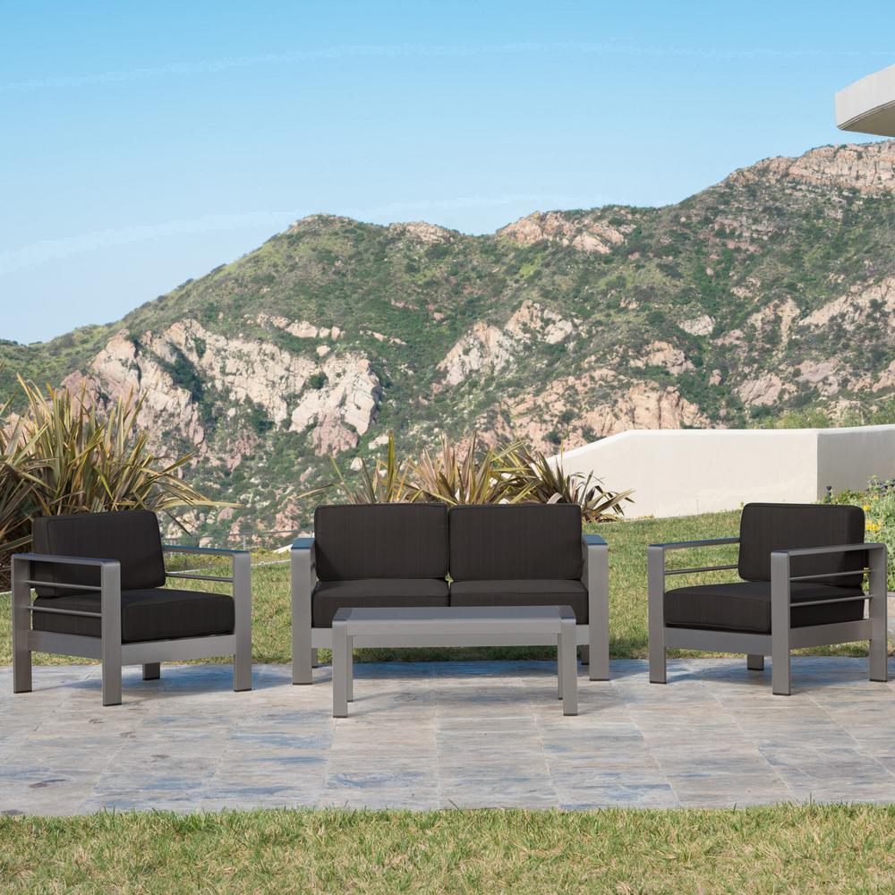 4 Piece Metal Patio Conversation Set With Dark Gray Cushions