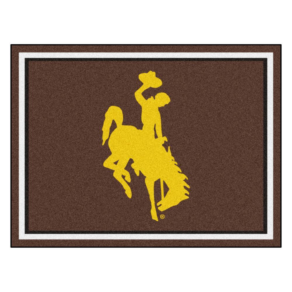 NCAA - University of Wyoming (Cowboy/Horse) Brown Brown 10 ft. x 8 ft. Indoor Rectangle Area Rug