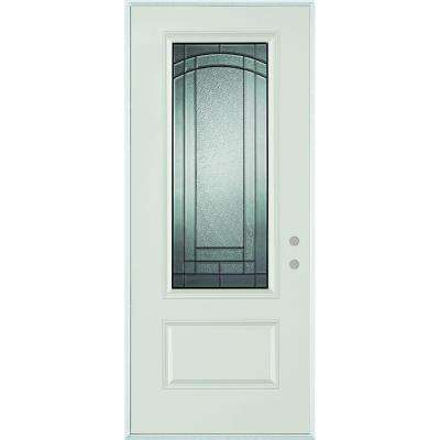 37.375 in. x 82.375 in. Chatham 3/4 Lite 1-Panel Painted Steel Prehung Front Door