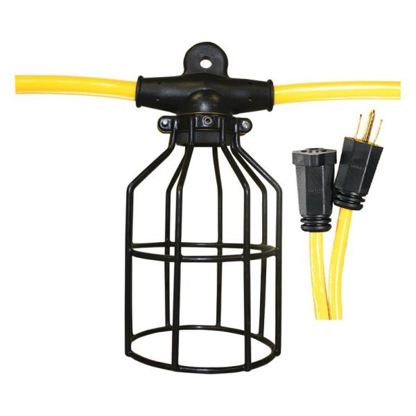 100 ft. 12/3 STW 10-Light String Metal Cage Light String - Yellow and Black
