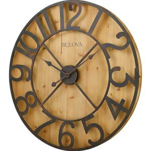 Bulova 29 In H X 29 In W Round Gallery Wall Clock In Knotty Pine Veneer C4814 The Home Depot