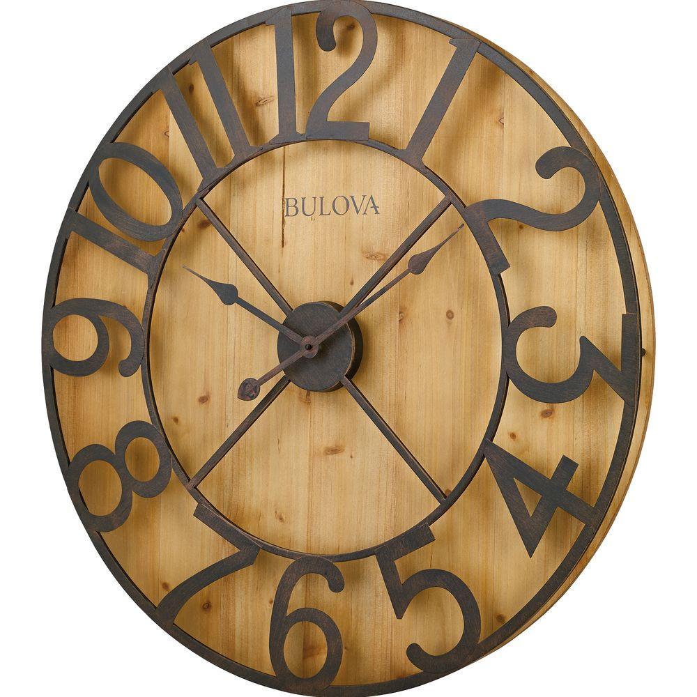 Bulova 29 inch H x 29 inch W Round Gallery Wall Clock in Knotty Pine Veneer by Bulova