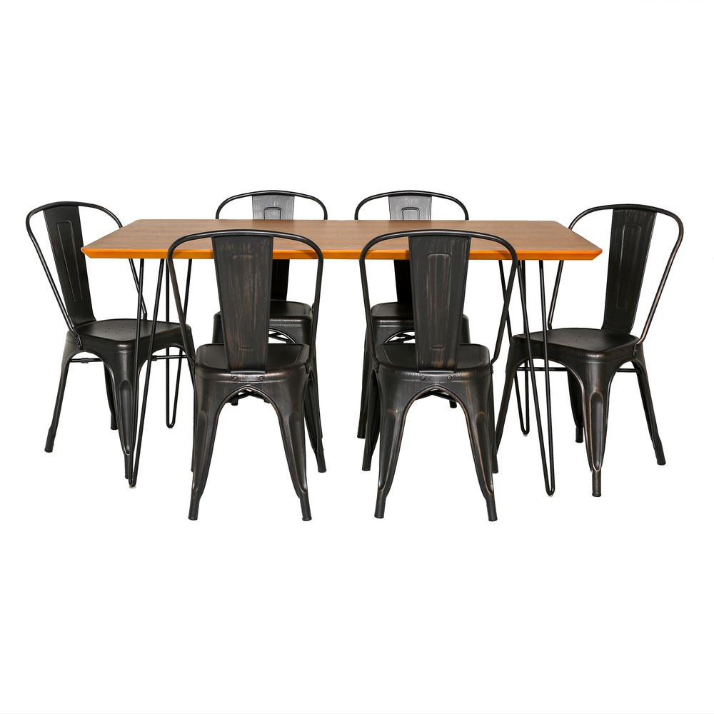 Walker Edison Furniture Company Contemporary 7 Piece Walnut Black Mid Century Modern Urban Square