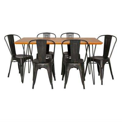 Contemporary 7-Piece Walnut/Black Mid Century Modern Urban Square Hairpin Dining Set with Caf Chairs