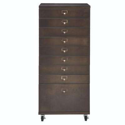 Becker 9-Drawer Antique Bronze Metal Cart