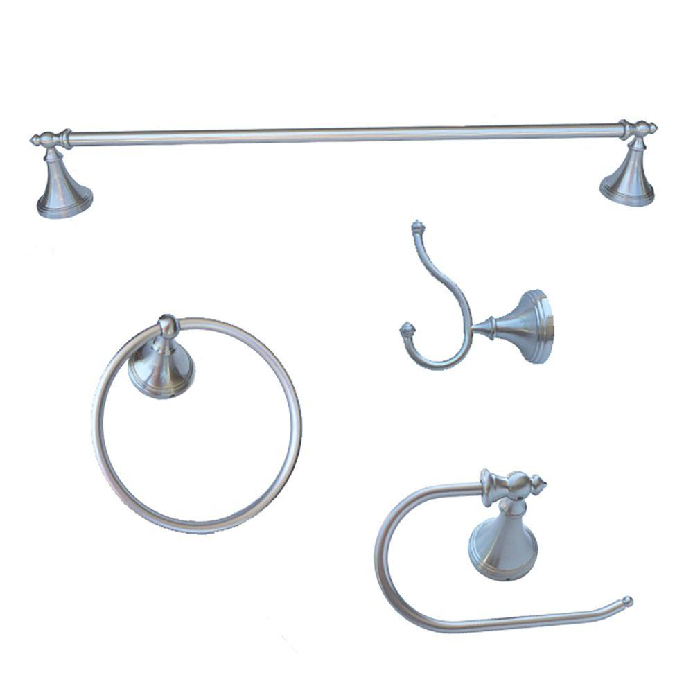 Annchester Collection 4-Piece Bathroom Accessory Kit in Satin Nickel