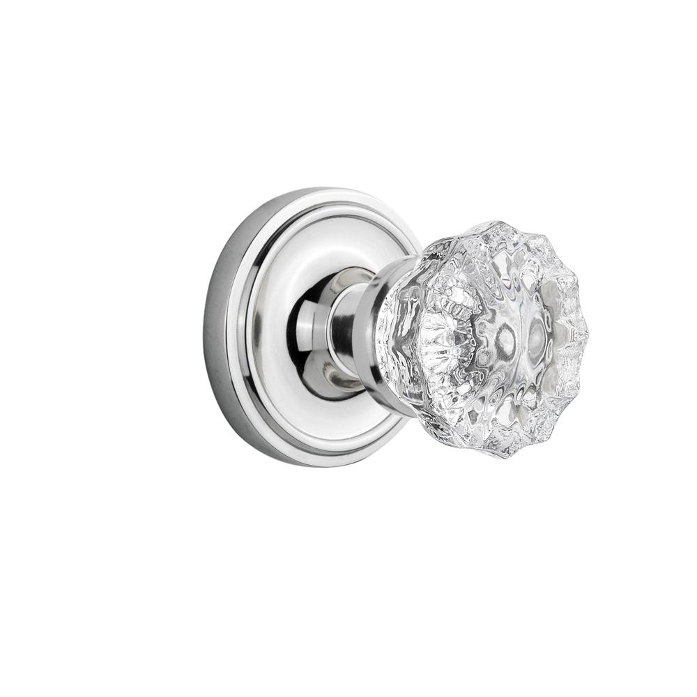 Classic Rosette Single Dummy Crystal Glass Door Knob in Bright Chrome