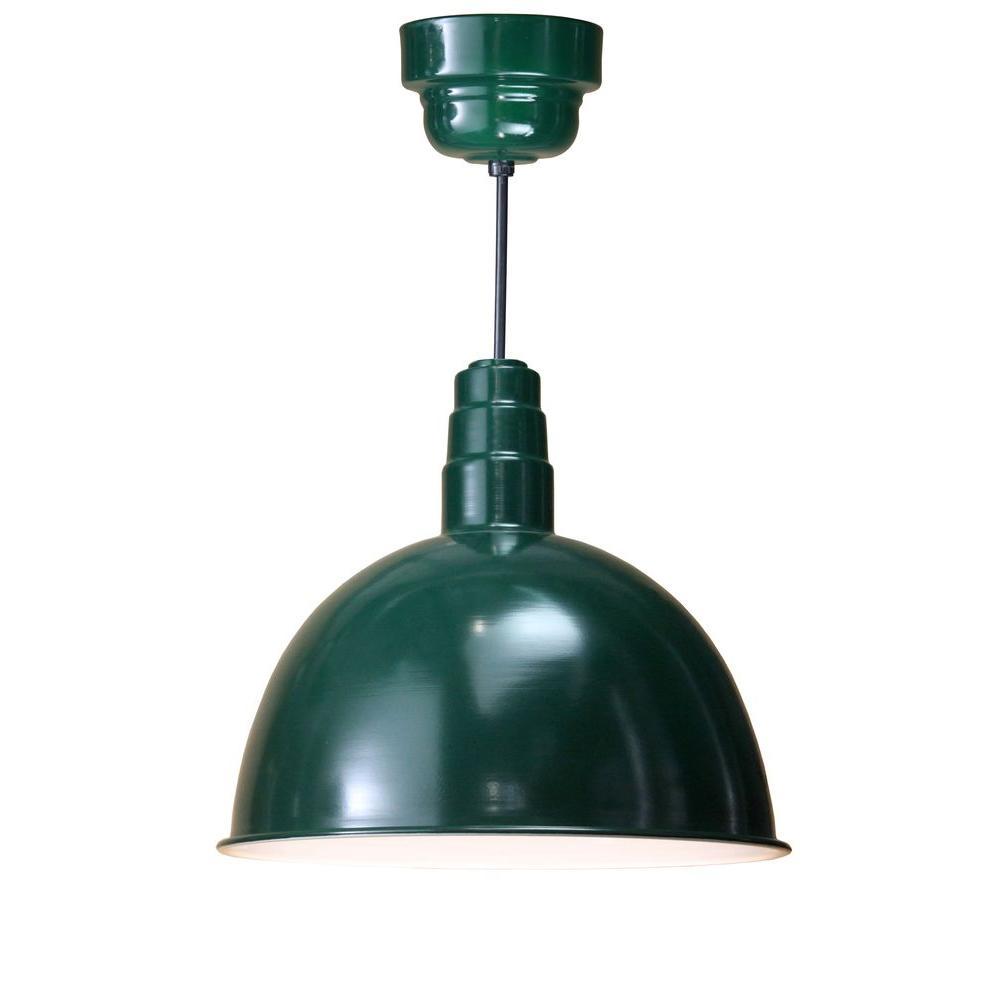 Illumine 1 light outdoor hanging green deep bowl pendant with wire illumine 1 light outdoor hanging green deep bowl pendant with wire guard arubaitofo Images