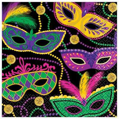 Mardi Gras Masks 6.5 in. x 6.5 in. Paper Mardi Gras Lunch Napkins (5-Pack, 16-Count)