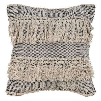 Zanthia Bespeckled 20 in. x 20 in. Natural/Black Indoor Throw Pillow