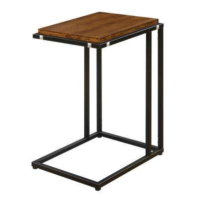 Nordic Dark Walnut and Black C-Shaped End Table