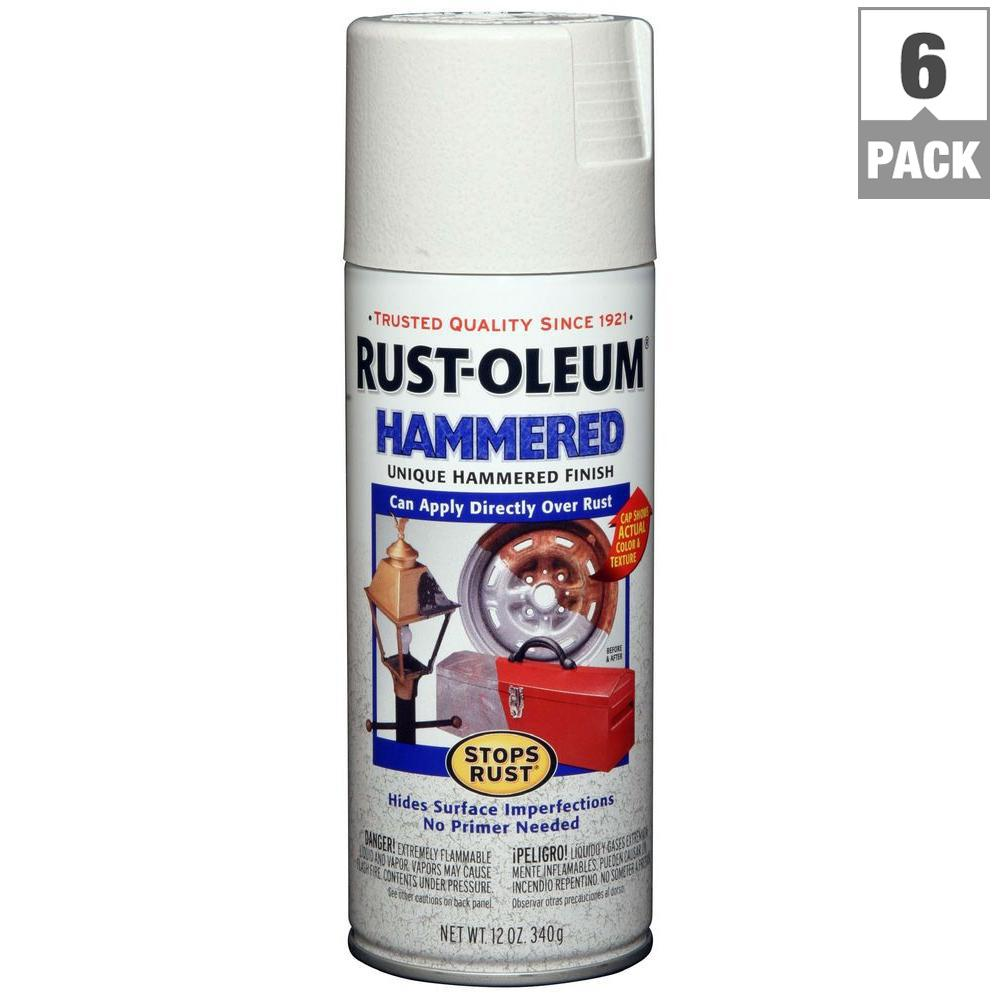 Rust-Oleum Stops Rust 12 oz  Hammered White Protective Spray Paint (6-Pack)