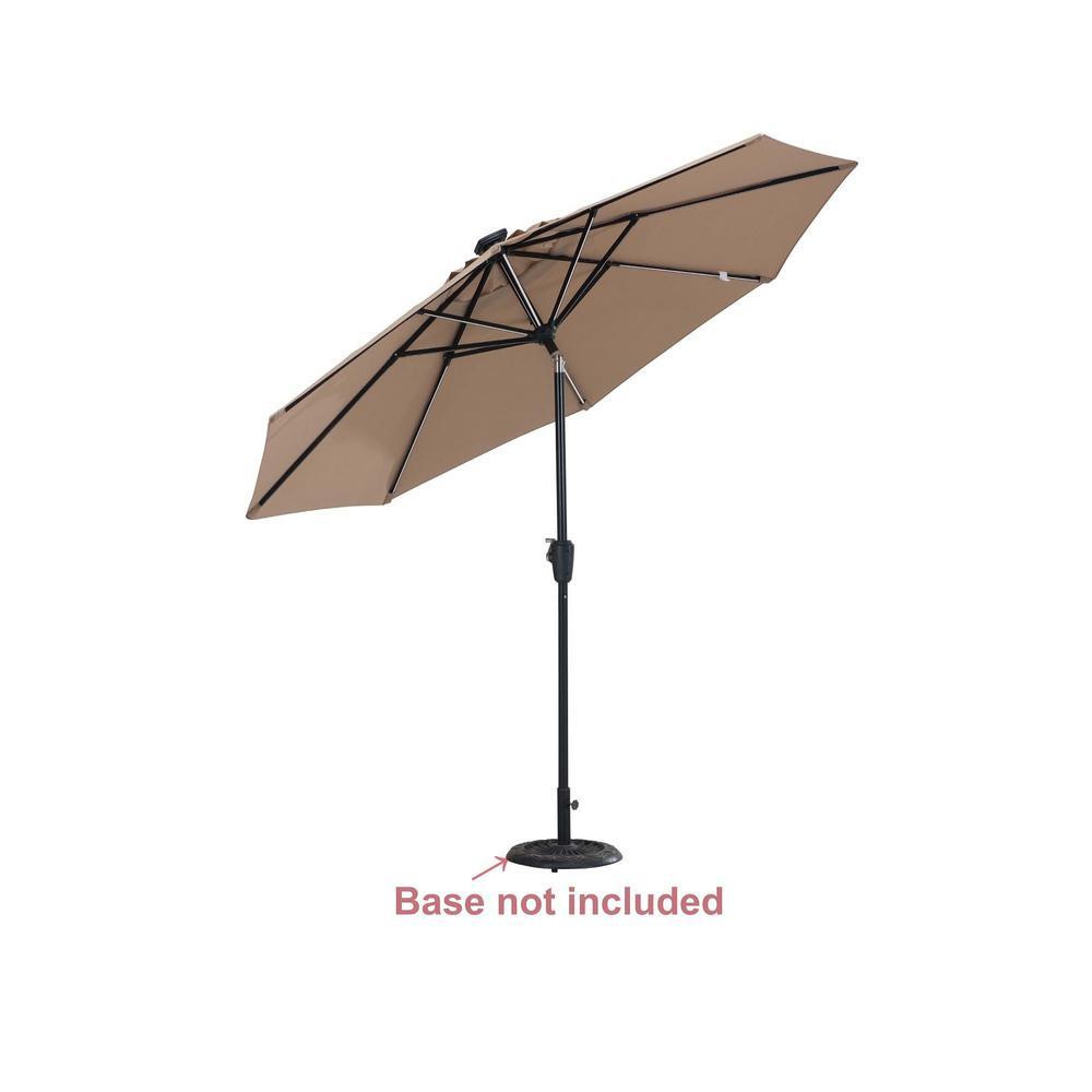 9 ft. Aluminum Market Solar Patio Umbrella in Beige