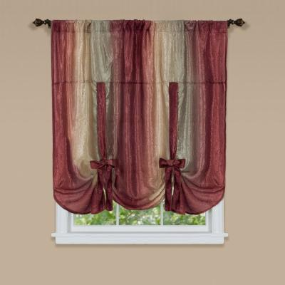 Ombre 50 in. W x 63 in. L Polyester Light Filtering Window Panel in Burgundy