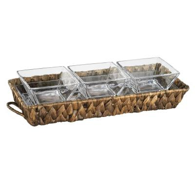 """Garden Terrace 3 Sectional Server 1-Glass Tray 12.25""""L, 5""""W, 1""""H, 3-Sq. Glass Bowls 3.75"""", Water Hyacinth Holder."""