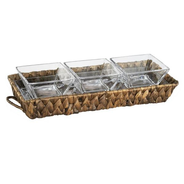 "Artland Garden Terrace 3 Sectional Server 1-Glass Tray 12.25''L, 5''W, 1""H,"