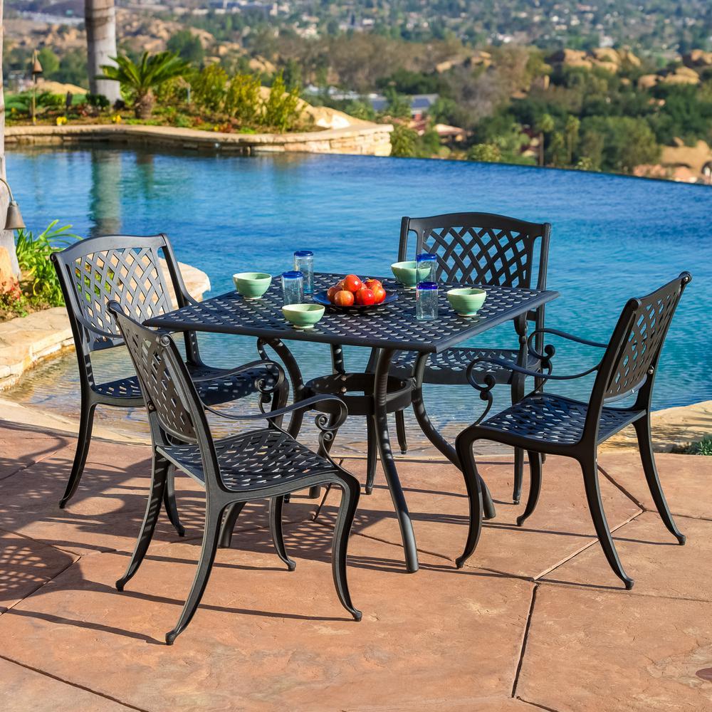 Noble House Hallandale Black 5-Piece Aluminum Square Outdoor Dining Set