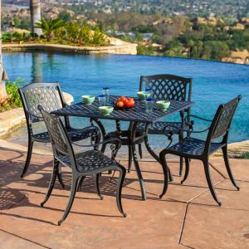 Hallandale Black 5-Piece Aluminum Square Outdoor Dining Set