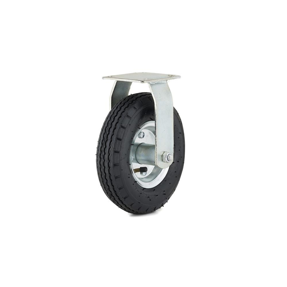 8 in. black Fixed plate Caster, 176.4 lb. Load Rating