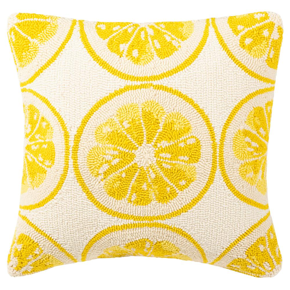 safavieh lemon squeeze yellow with white square outdoor throw pillow