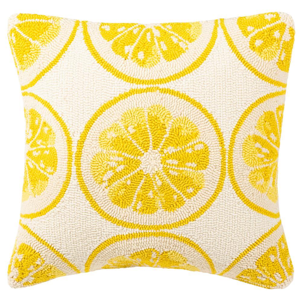 Lemon Squeeze Yellow/White Square Outdoor Throw Pillow