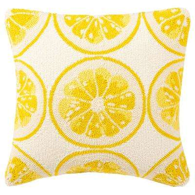 Lemon Squeeze Yellow with White Square Outdoor Throw Pillow