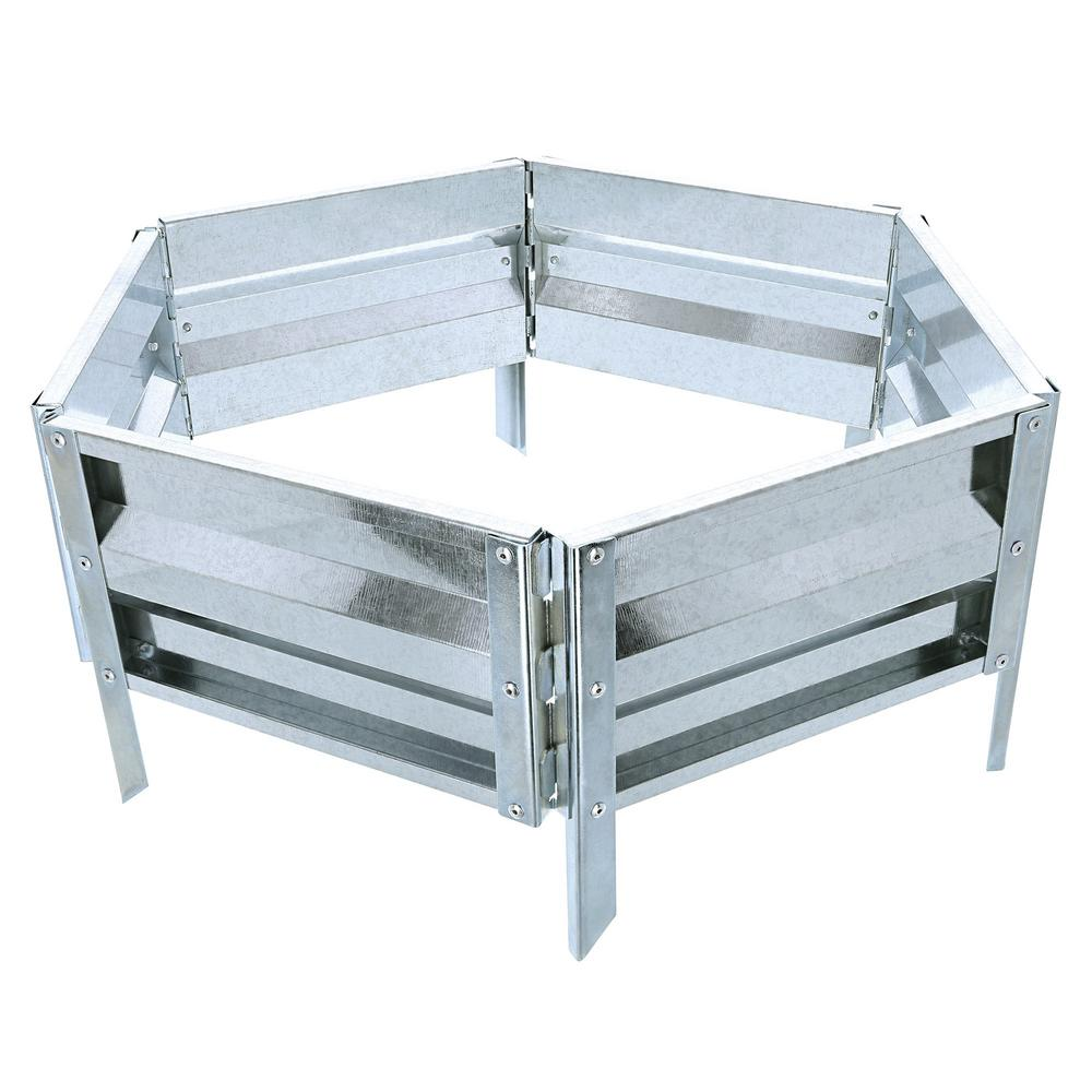 Pure Garden 18 in. x 21 in. Silver Raised Garden Bed The sturdy Iron Raised Garden Bed Plant Holder by Pure Garden is the ideal way to start an at home garden. It's designed to blend into any landscape. This versatile planter helps to eliminate unnecessary labor, maintenance and weeding by protecting flowers, plants, vegetables and other garden varieties. Color: Silver.