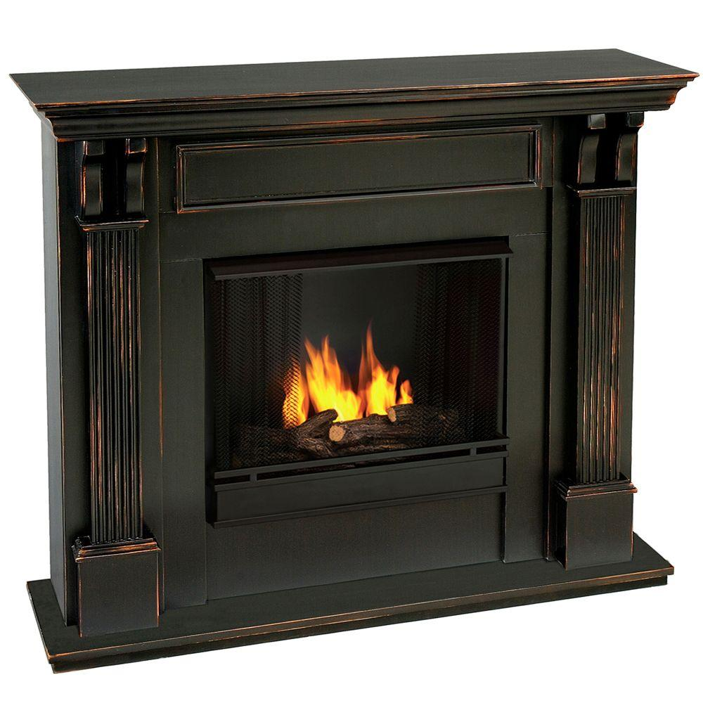 real flame ashley 48 in gel fuel fireplace in blackwash 7100 bw the home depot. Black Bedroom Furniture Sets. Home Design Ideas