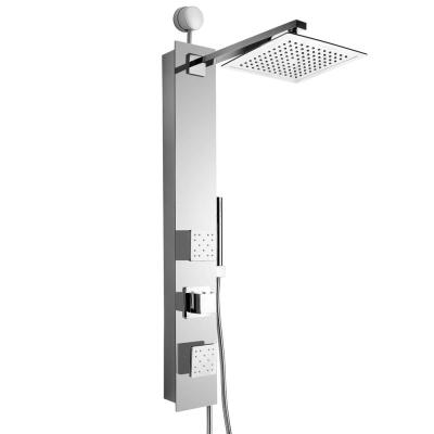 35 in. 2-Jet Easy Connect Shower Panel System in Mirror Tempered Glass with Rainfall Shower Head and Handshower Wand