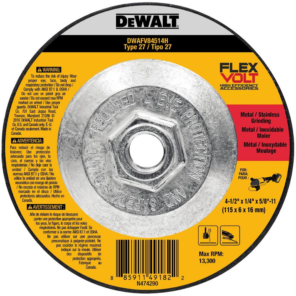 FLEXVOLT 4-1/2 in. x 1/4 in. x 5/8 in.-11 Grinding Wheel Type 27