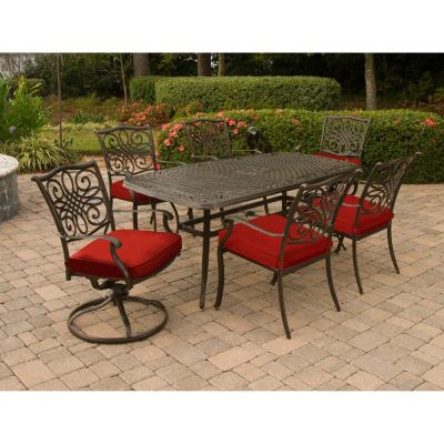 Traditions 7-Piece Aluminum Outdoor Dining Set with 2 Swivel Rockers and Red Cushions