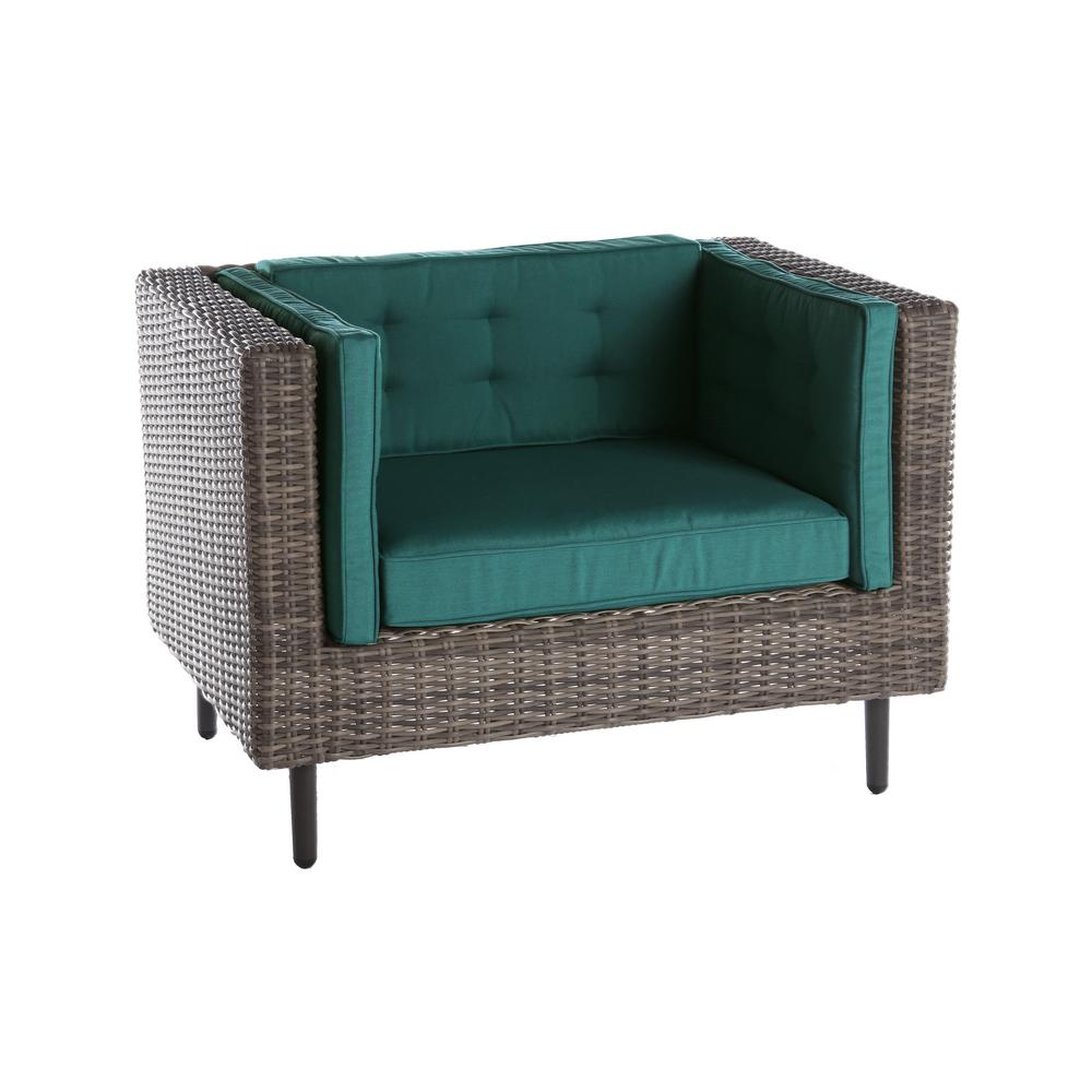 AE Outdoor Aimee 1-Piece Wicker Patio Seating Set with Spectrum-Peacock Cushions