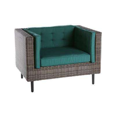 Aimee 1-Piece Wicker Patio Seating Set with Spectrum-Peacock Cushions