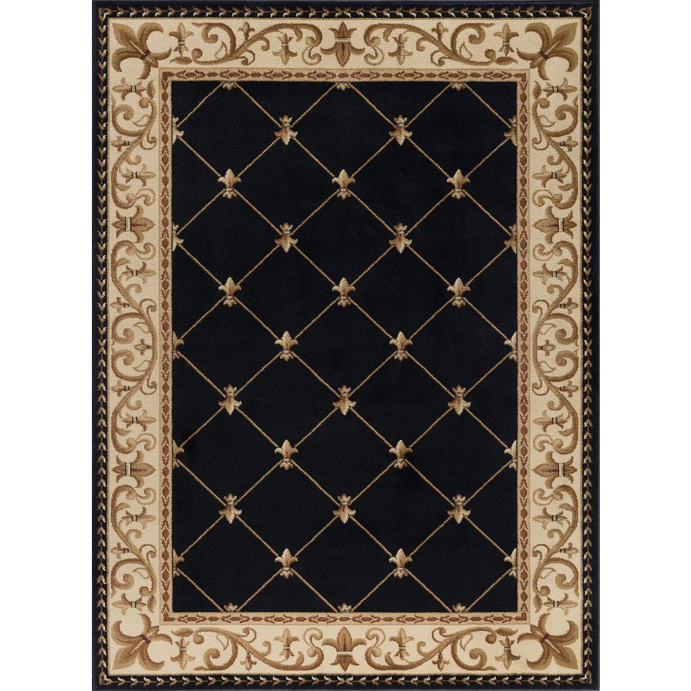 tayse rugs sensation black 11 ft x 15 ft traditional area rug sns4883 11x15 the home depot. Black Bedroom Furniture Sets. Home Design Ideas