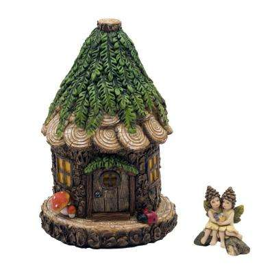 8 in. tall Alpine Cuddle Nest Fairy House with Lara and Lanette Fairy Figurines