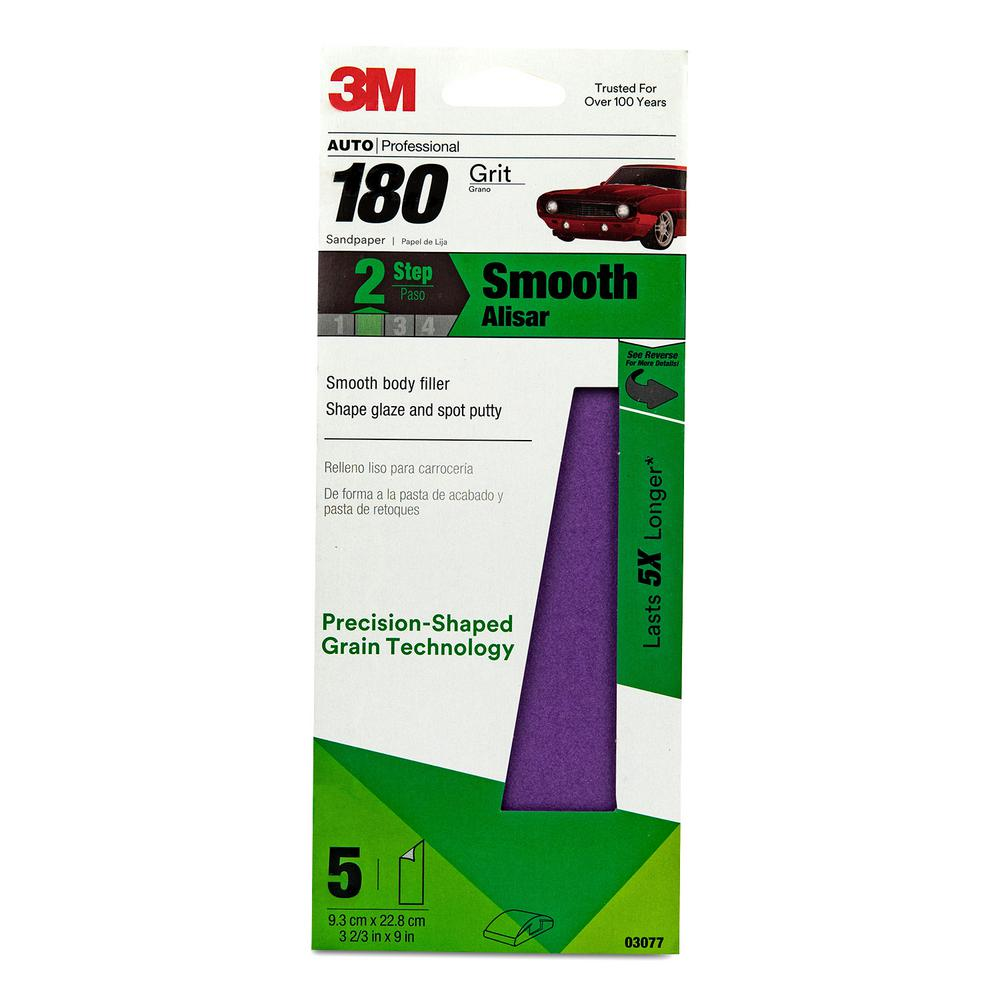 Performance 3-2/3 in. x 9 in. 180-Grit Sandpaper (5-Pack)