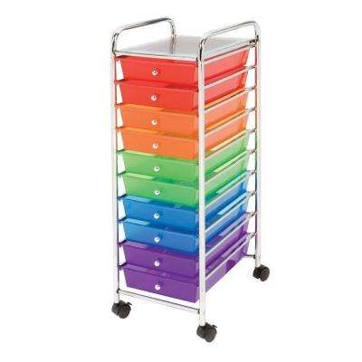 10-Drawer Steel Organizer Cart in Multi-Color