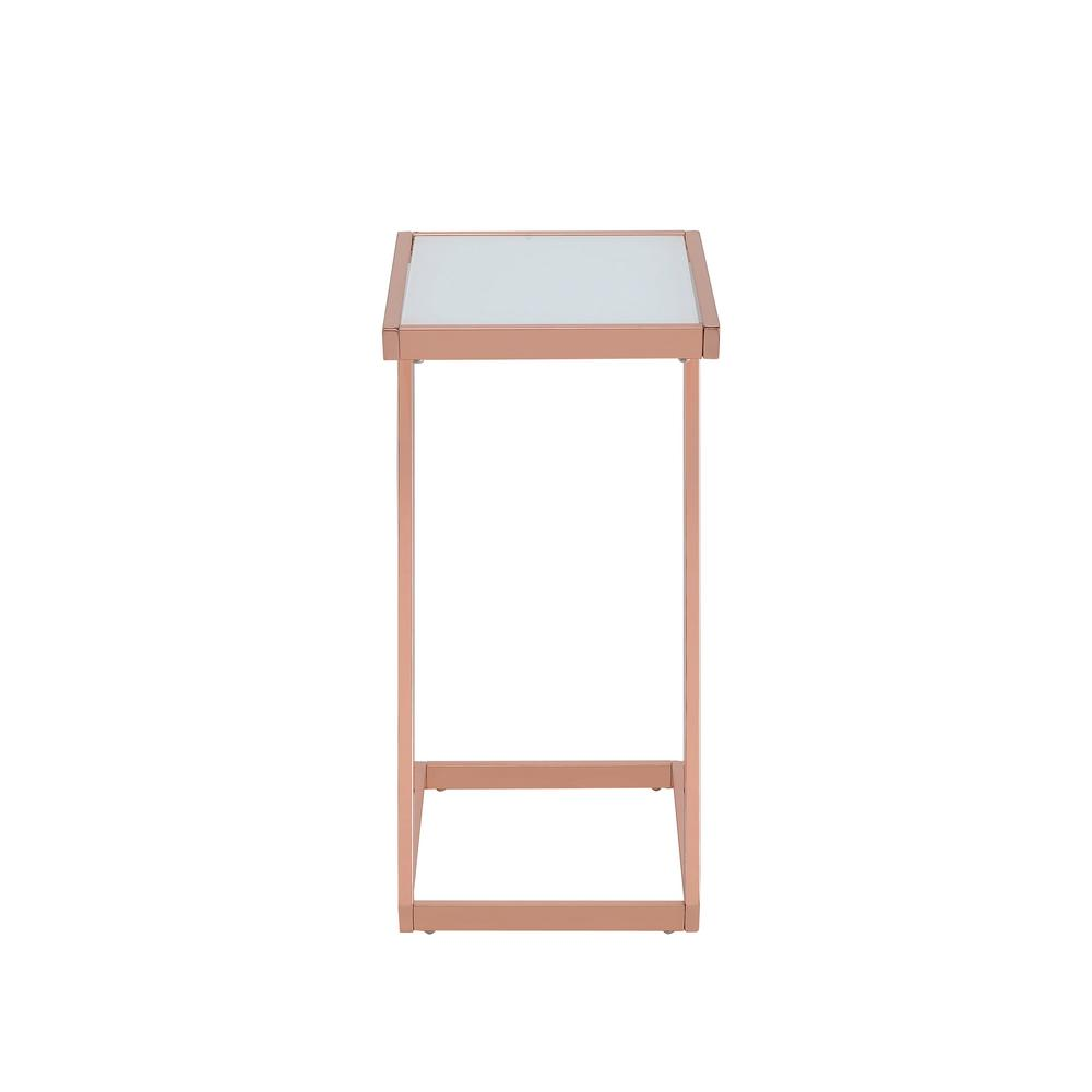 Ordinaire ACME Furniture Laina Frosted Glass And Rose Gold Side Table