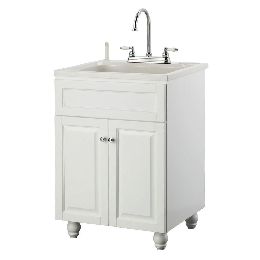 Laundry Vanity In White And ABS Sink In White And Faucet
