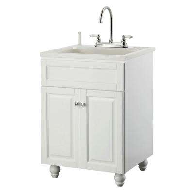 Bramlea 24 in. Laundry Vanity in White and ABS Sink in White and Faucet Kit