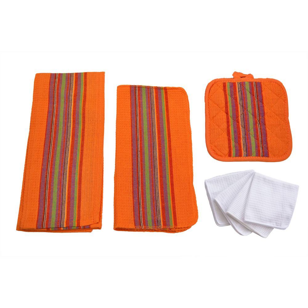 Home Basics Sierra Kitchen Towel Set in Orange (8-Piece) by Home Basics