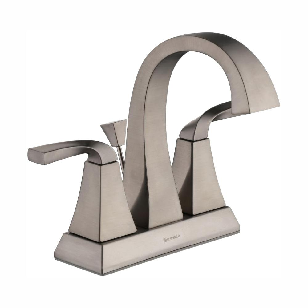 Glacier Bay Leary Curve 4 in. Centerset 2-Handle High-Arc Bathroom Faucet in Brushed Nickel