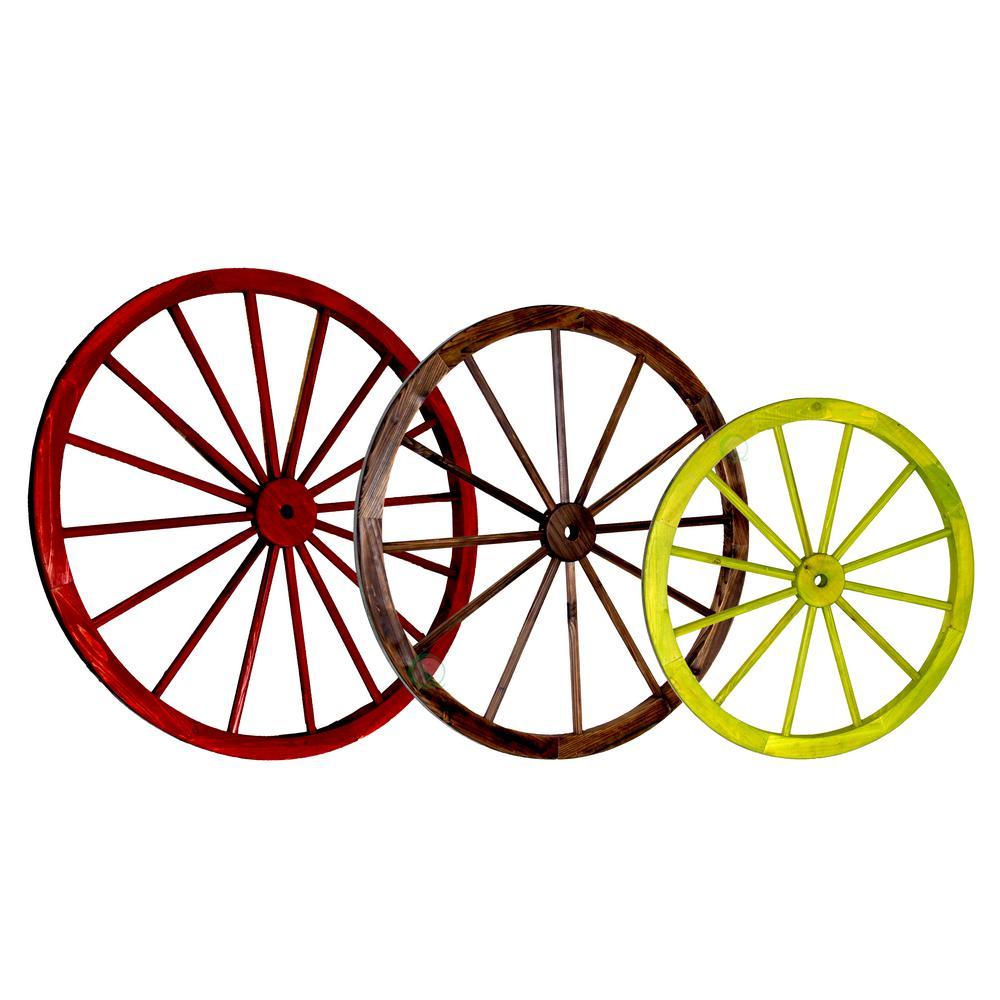 42 in. x 1.4 in. Decorative Antique Wagon Garden Wheel (Set of 3)