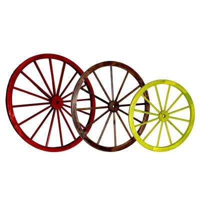 42 in. x 1.4 in. Decorative Antique Wagon Garden Wheel (Set of 3)