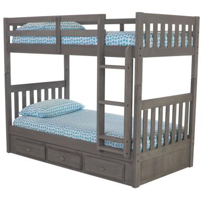 Charcoal Twin Over Twin Solid Wood Bunkbed with 3-Drawer Underbed Storage